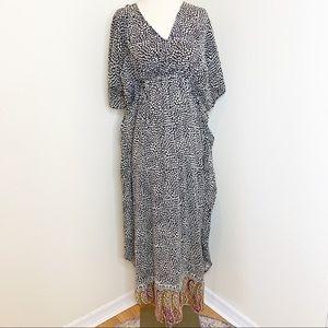 Tolani 100% Silk Maxi Dress Spotted Boho Paisley